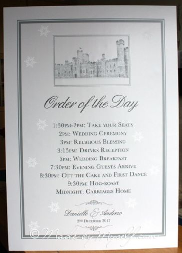 Venue Order of the Day Sign